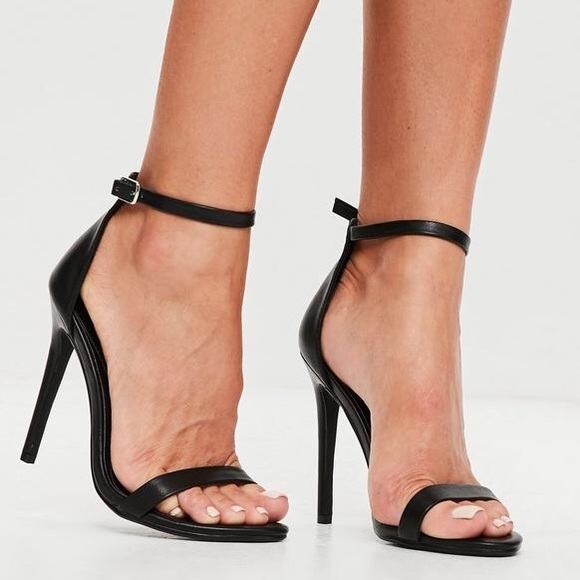 Missguided Black Strappy Heels